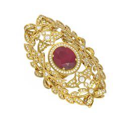 8.82 ctw Ruby & Diamond Ring 18K Yellow Gold