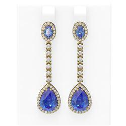 8.81 ctw Tanzanite & Diamond Earrings 18K Yellow Gold