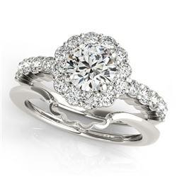 1.75 ctw Certified VS/SI Diamond 2pc Wedding Set Halo 14k White Gold