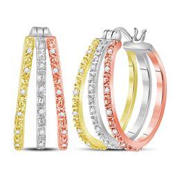 14kt Tri-Tone Gold Round Diamond Triple Hoop Earrings 1/5 Cttw