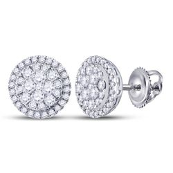 14kt White Gold Round Diamond Halo Cluster Earrings 1.00 Cttw