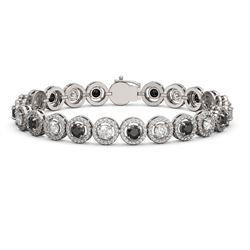 8.83 ctw Black & Diamond Micro Pave Bracelet 18K White Gold
