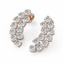 5.94 ctw Cushion Cut Diamond Designer Earrings 18K Rose Gold