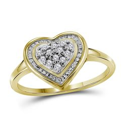 10kt Yellow Gold Round Diamond Heart Frame Cluster Ring 1/10 Cttw