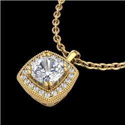 1.25 ctw Cushion VS/SI Diamond Art Deco Necklace 18k Yellow Gold