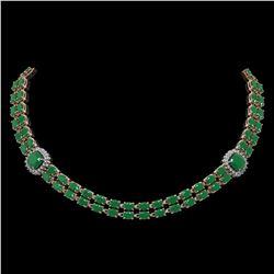 43.97 ctw Emerald & Diamond Necklace 14K Rose Gold