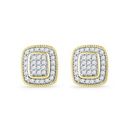 10kt Yellow Gold Round Diamond Square Cluster Stud Earrings 1/4 Cttw