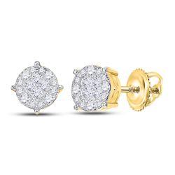 14kt Yellow Gold Princess Diamond Fashion Cluster Earrings 2.00 Cttw