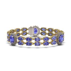 32.77 ctw Tanzanite & Diamond Bracelet 14K Yellow Gold