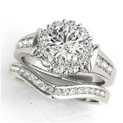 2.11 ctw Certified VS/SI Diamond 2pc Wedding Set Halo 14k White Gold