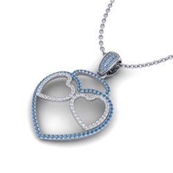 1.20 ctw Blue & Micro VS/SI Diamond Heart Necklace 14k White Gold