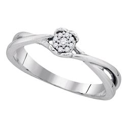 Sterling Silver Round Diamond Cluster Bridal Wedding Engagement Ring 1/12 Cttw
