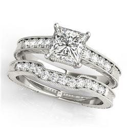 1.18 ctw Certified VS/SI Princess Diamond 2pc Set Antique 14k White Gold