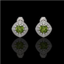 4.39 ctw Tourmaline & Diamond Victorian Earrings 14K White Gold
