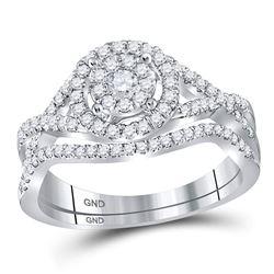 14kt White Gold Round Diamond Cluster Bridal Wedding Engagement Ring Band Set 1/2 Cttw