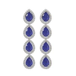 10.2 ctw Sapphire & Diamond Micro Pave Halo Earrings 10k White Gold