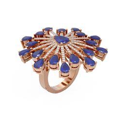 11.74 ctw Sapphire & Diamond Ring 18K Rose Gold