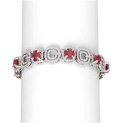 26.1 ctw Ruby & Diamond Bracelet 18K White Gold
