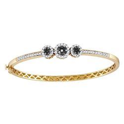 14kt Yellow Gold Round Black Color Enhanced Diamond Triple Cluster Bangle Bracelet 1.00 Cttw