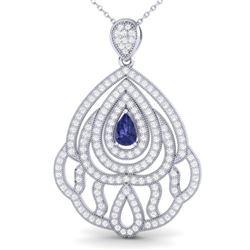 2 ctw Tanzanite & Micro Pave VS/SI Diamond Necklace 18k White Gold