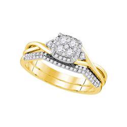 14k Yellow Gold Round Diamond Cluster Bridal Wedding Engagement Ring Band Set 3/8 Cttw
