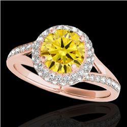 1.6 ctw Certified SI/I Fancy Intense Yellow Diamond Ring 10k Rose Gold