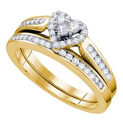 14kt Yellow Gold Diamond Heart Bridal Wedding Engagement Ring Band Set 1/2 Cttw