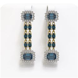 11.24 ctw London Topaz & Diamond Earrings 14K Yellow Gold