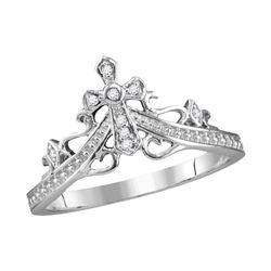 14kt White Gold Round Diamond Cross Crown Tiara Band Ring 1/20 Cttw