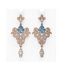 9.35 ctw Blue Topaz & Diamond Earrings 18K Rose Gold