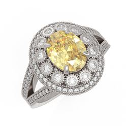 3.75 ctw Canary Citrine & Diamond Victorian Ring 14K White Gold