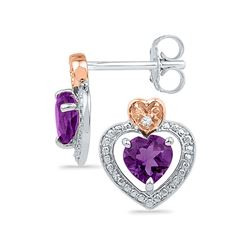 Sterling Silver Round Lab-Created Amethyst Diamond Heart Frame Earrings .01 Cttw