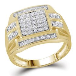 10kt Yellow Gold Mens Round Diamond Square Cluster Ring 1/3 Cttw