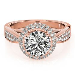 2.15 ctw Certified VS/SI Diamond Solitaire Halo Ring 14k Rose Gold