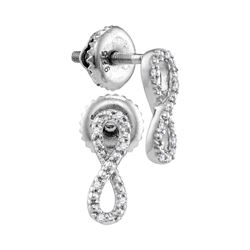 Sterling Silver Round Diamond Vertical Infinity Screwback Earrings 1/20 Cttw
