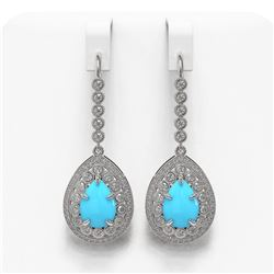7.95 ctw Turquoise & Diamond Victorian Earrings 14K White Gold