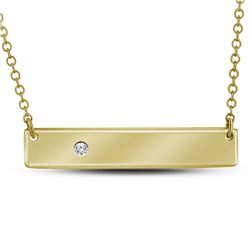 10kt Yellow Gold Round Diamond Rectangle Bar Necklace .02 Cttw