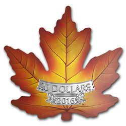 2016 Canada 1 oz Silver $20 Prf Maple Leaf Shape Coin (Colorized)
