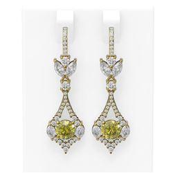 5.27 ctw Fancy Yellow Diamond Earrings 18K Yellow Gold