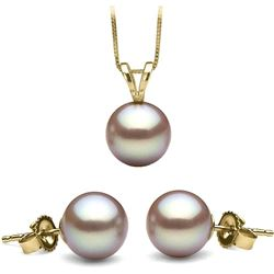 Lavender Freshwater Classic Pendant and Stud Earring Set