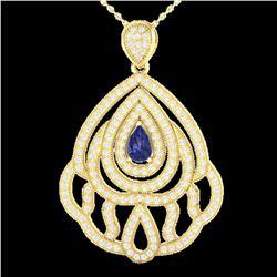 2 ctw Tanzanite & Micro Pave VS/SI Diamond Necklace 18k Yellow Gold