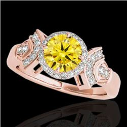 1.56 ctw Certified SI/I Fancy Intense Yellow Diamond Ring 10k Rose Gold