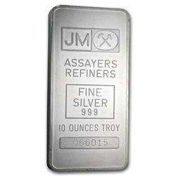 10 oz Silver Bar - Johnson Matthey (Pressed, Plain Back)