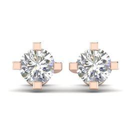 1 ctw Certified VS/SI Diamond Solitaire Stud Earrings 14k Rose Gold