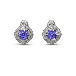 5.09 ctw Tanzanite & Diamond Victorian Earrings 14K White Gold