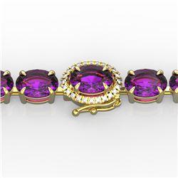 19.25 ctw Amethyst & VS/SI Diamond Micro Pave Bracelet 14k Yellow Gold
