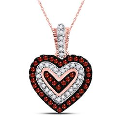 10kt Rose Gold Round Red Color Enhanced Diamond Small Heart Pendant 1/5 Cttw