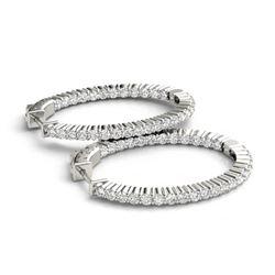 2.25 ctw Diamond VS/SI 33 MM Hoop Earrings 14k White Gold