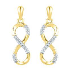 10k Yellow Gold Round Diamond Infinity Dangle Screwback Earrings 1/10 Cttw