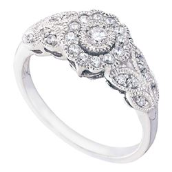 10kt White Gold Round Diamond Solitaire Floral Cluster Milgrain Ring 1/3 Cttw